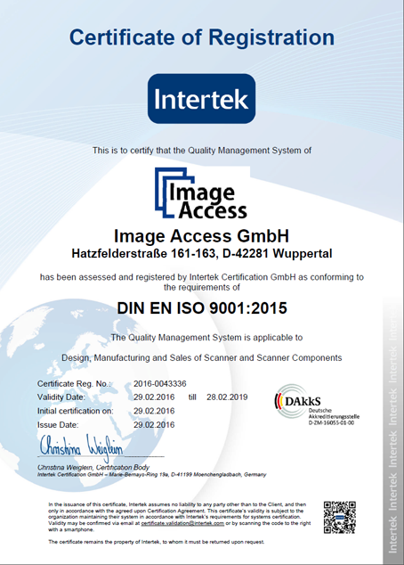 Image Access is ISO 9001:2015 certified