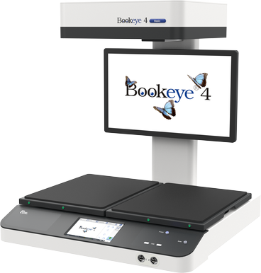 Overhead book scanner for formats up to A2+